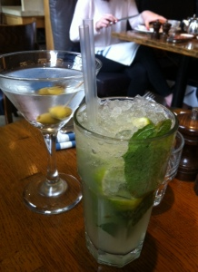 My virgin mojito in company with Hubby's more serious dry martini