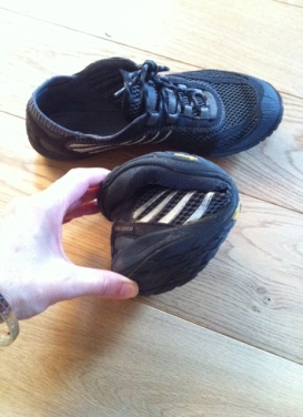 My barefoot Merrell shoes, showing how flexible the thin sole is